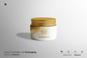 glass cosmetic jar packaging mockup