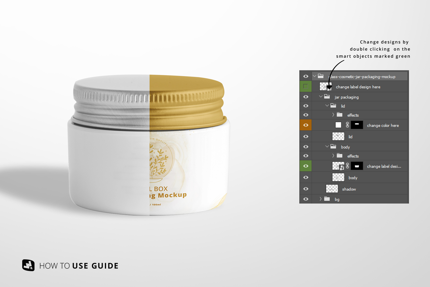 change label designs of the glass cosmetic jar packaging mockup