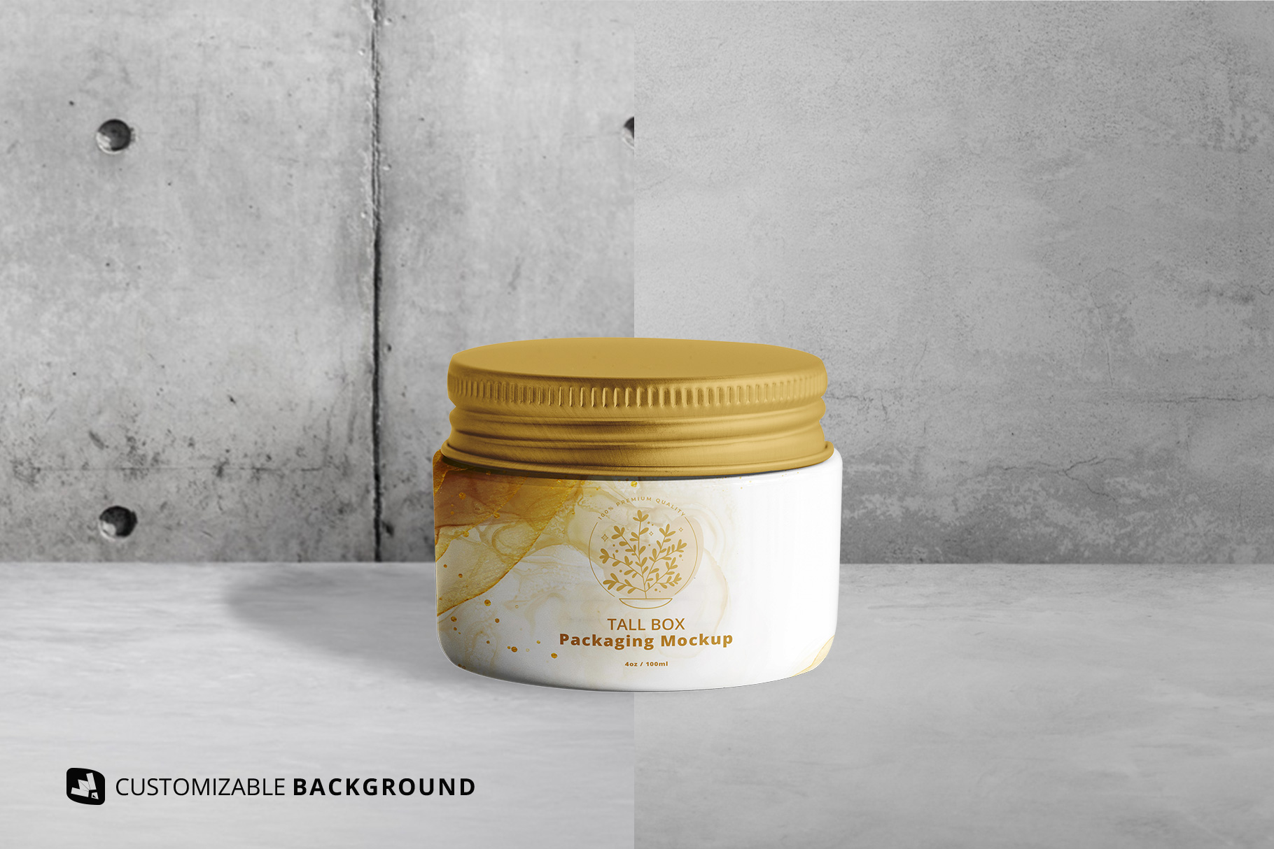 background options of the glass cosmetic jar packaging mockup