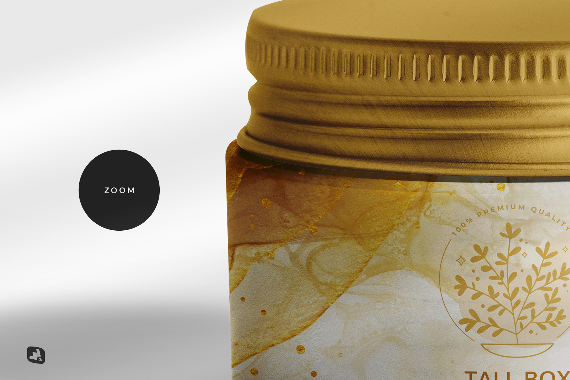 zoomed in image of the glass cosmetic jar packaging mockup