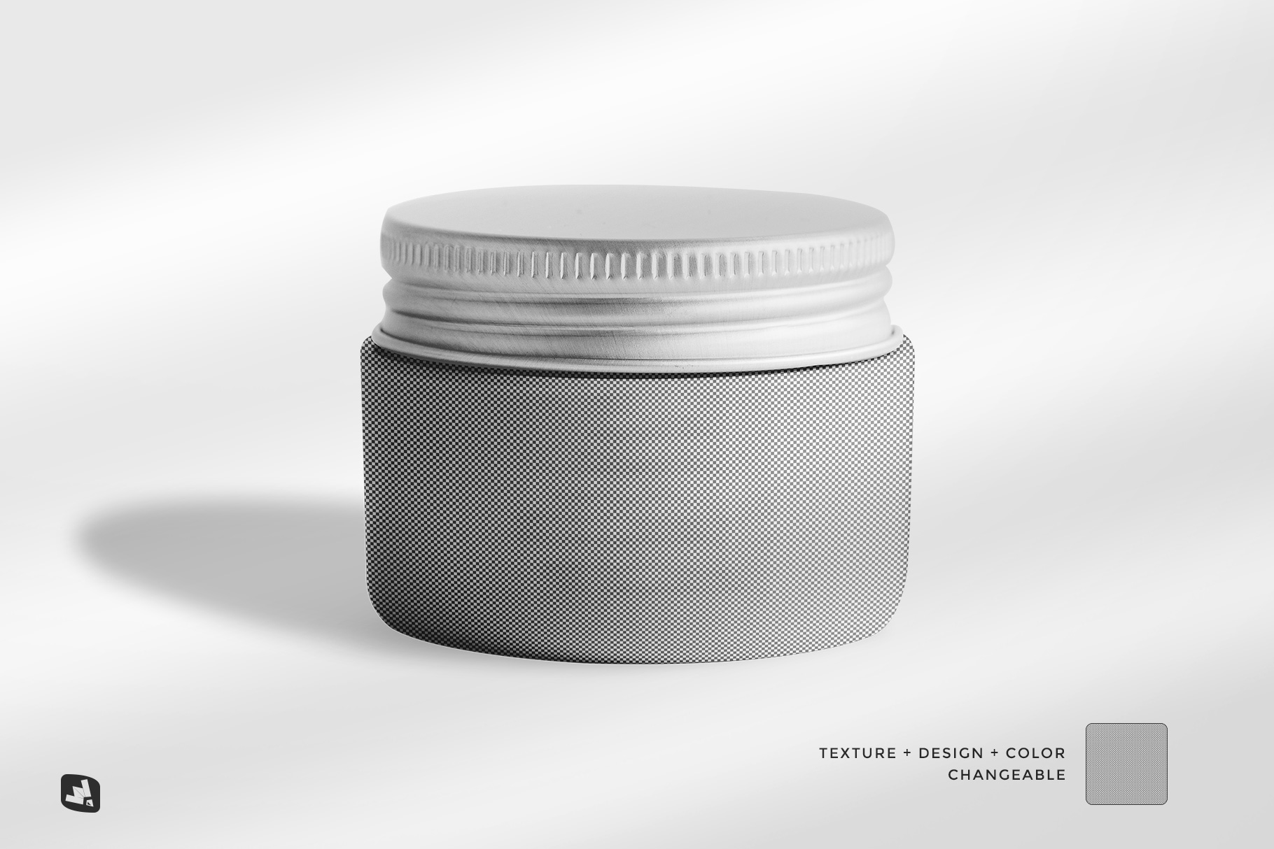 editability of the glass cosmetic jar packaging mockup