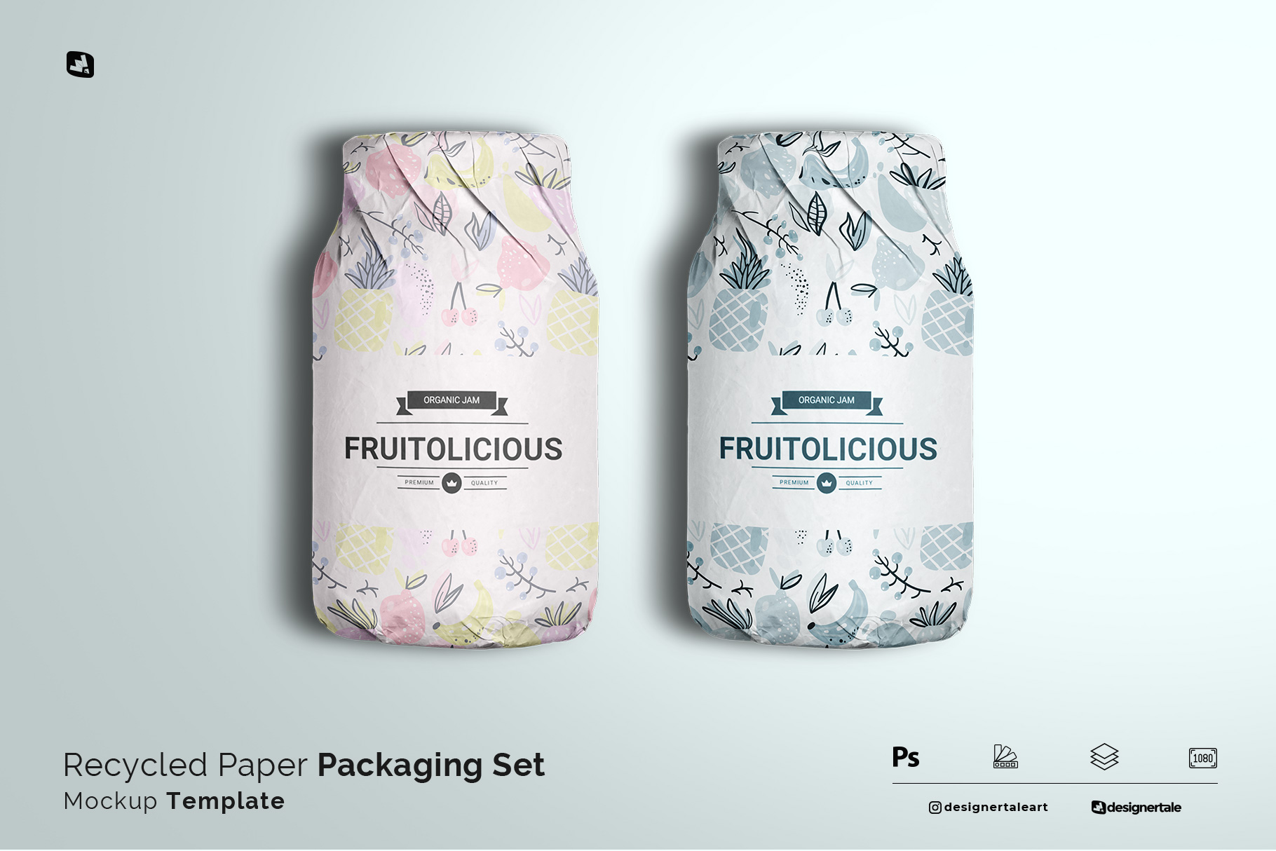recycled paper packaging set mockup