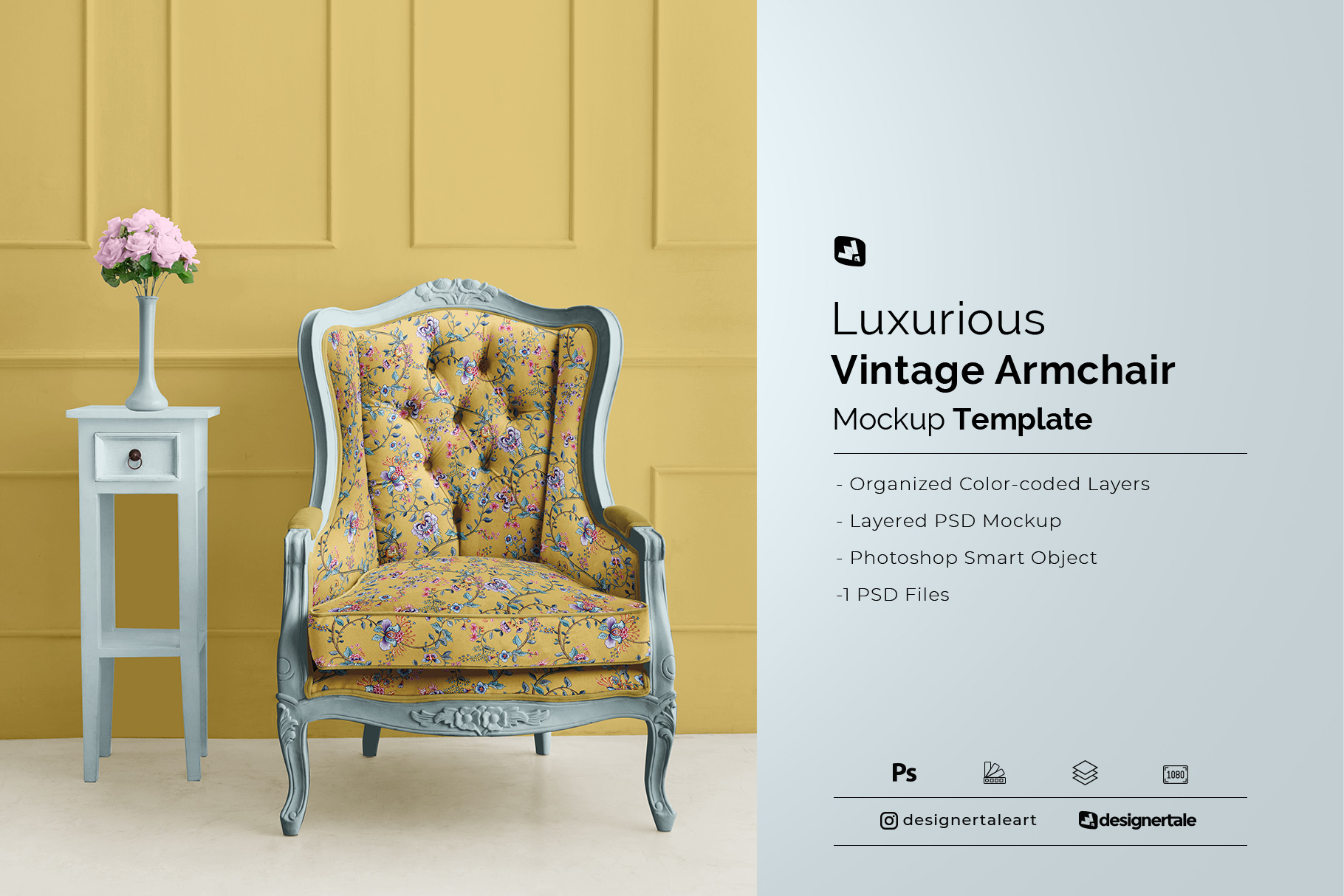 luxurious vintage armchair mockup